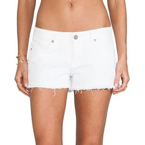 Paige Catalina White Denim Cut Off Shorts